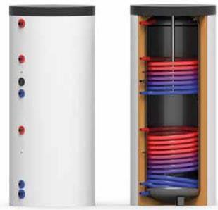 Solarspeicher 300 Liter mit 2 Register