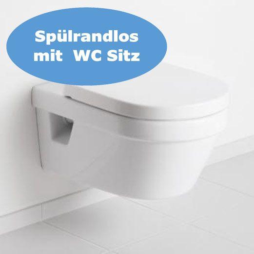 Villeroy & Boch Wand-WC-Set Omnia mit WC-Sitzbrett, 5684 Ceramicplus