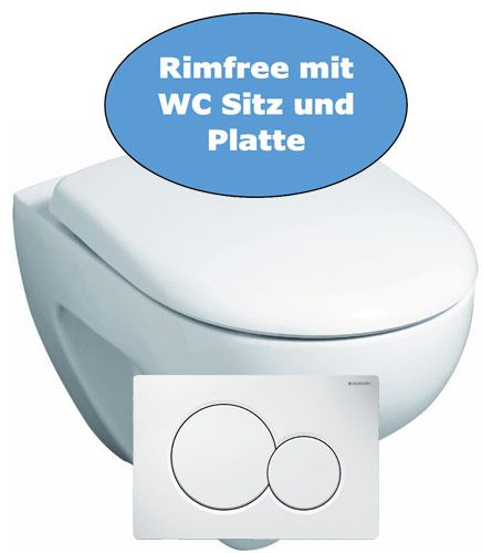 Wand WC Set Keramag spülrandlos mit betätigungsplatte