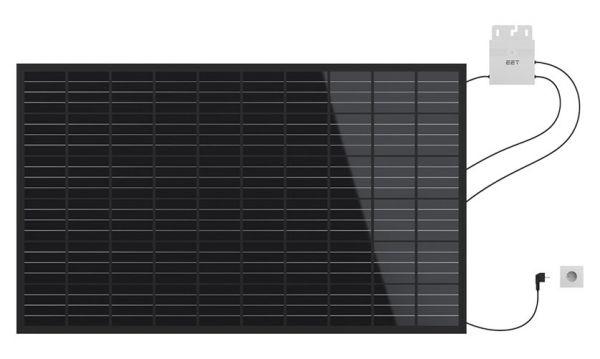 EET Lightmate G Paeel black mit Kabel und Balkonaufhängung